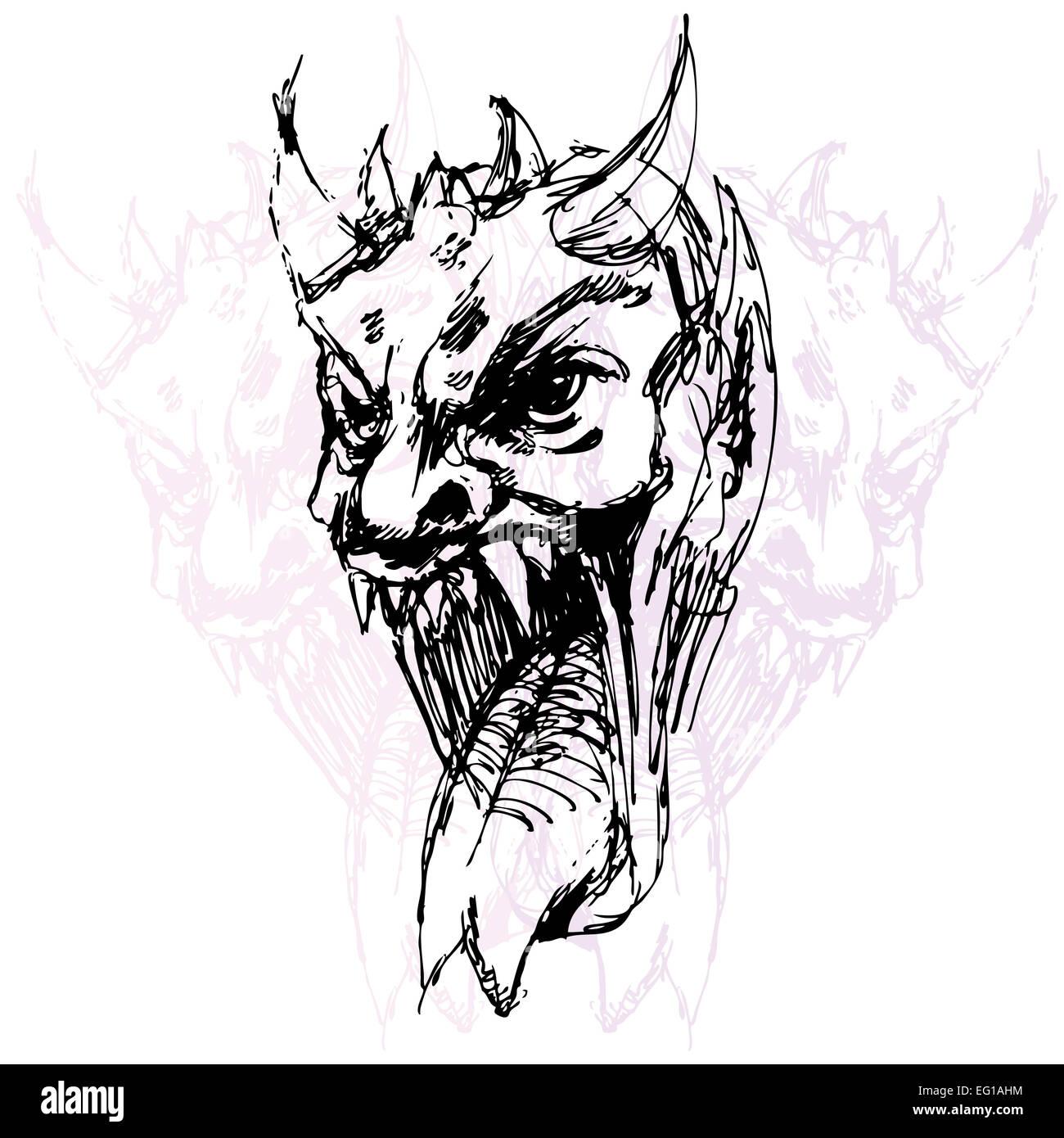 Ein Bild Von Einem Damon Gesicht Zeichnen Stockfoto Bild 78706256