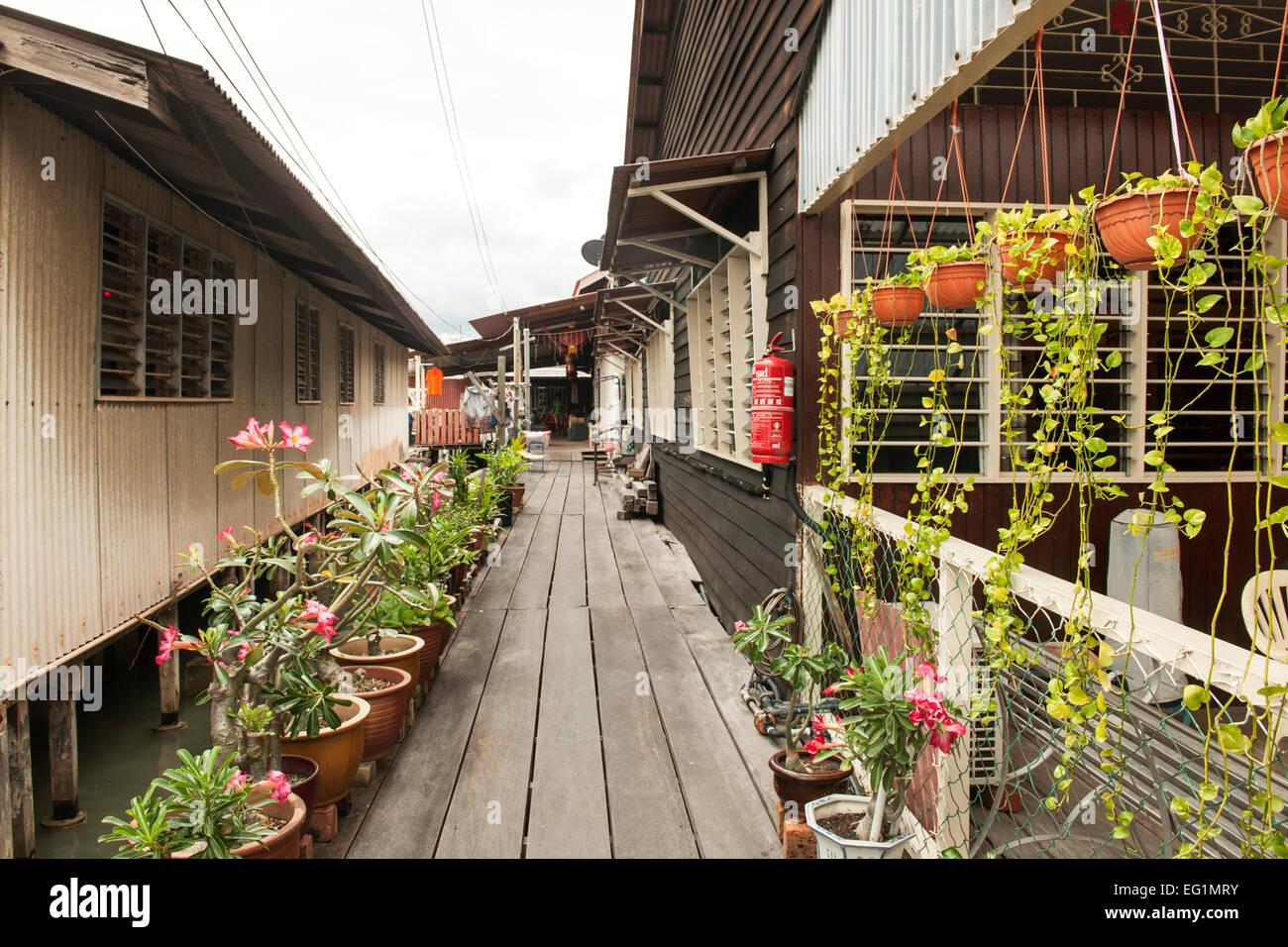 Kauen Sie Jetty (aka Seh kauen Keo), einer historischen Hafen-Siedlung in George Town, Penang, Malaysia. Stockbild