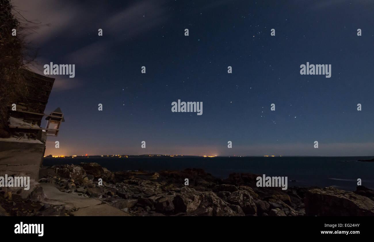 Sternenhimmel über Mounts Bay in Cornwall Stockbild