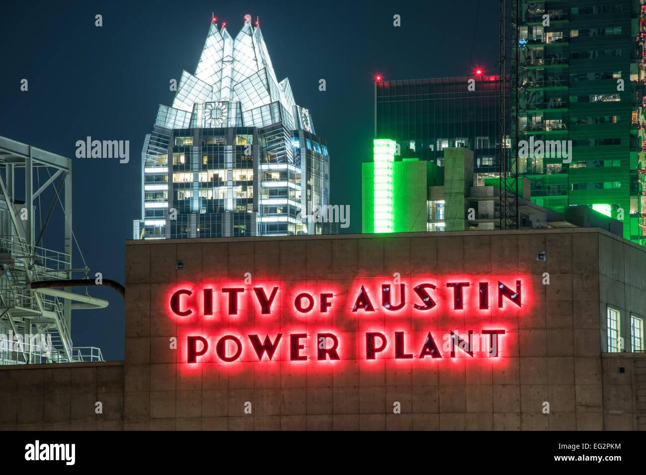 Eine Nacht-Blick auf die Skyline von Austin, Texas, USA. Stockbild
