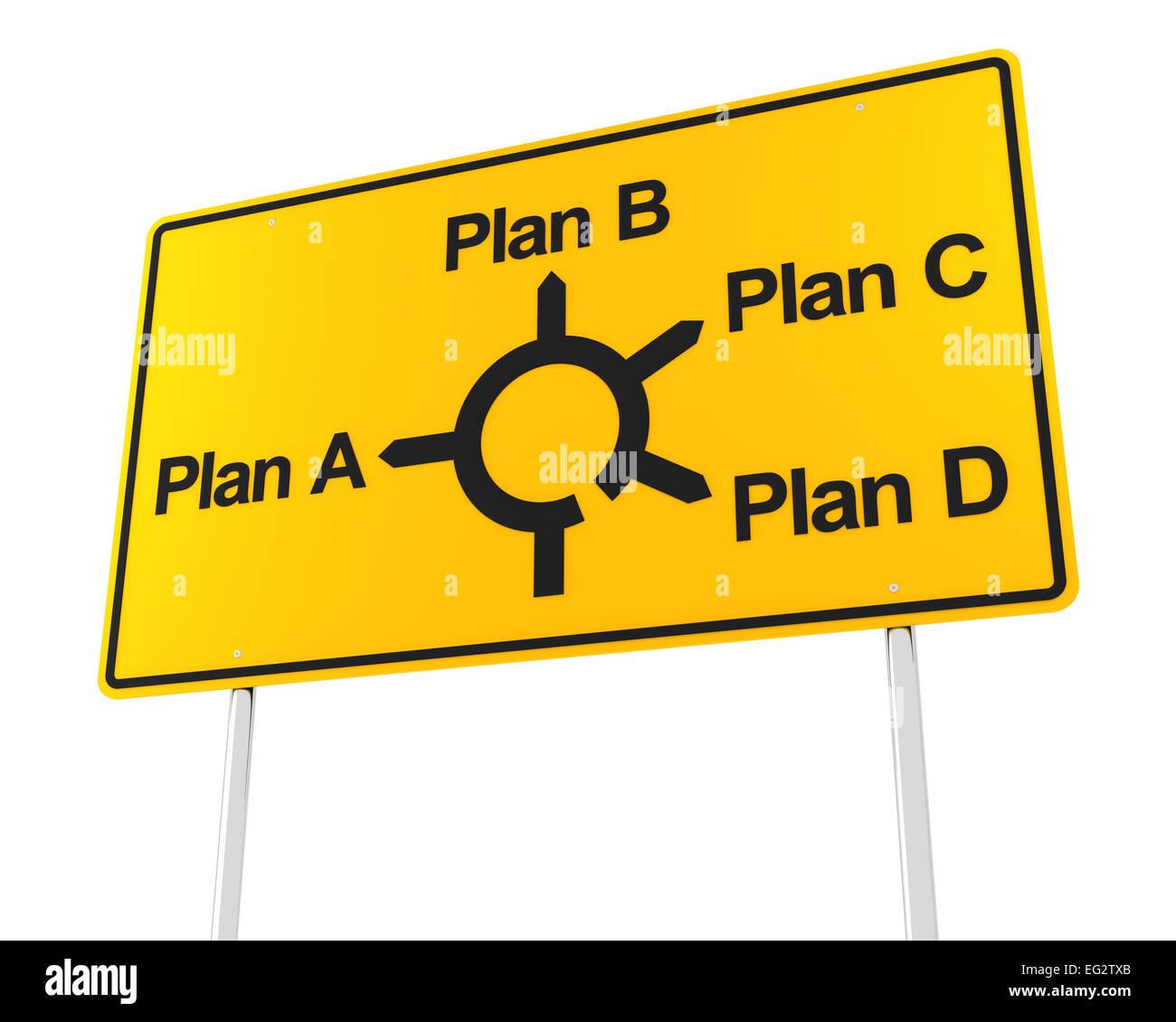 Straßenschild mit Optionen für verschiedene Pläne Stockbild