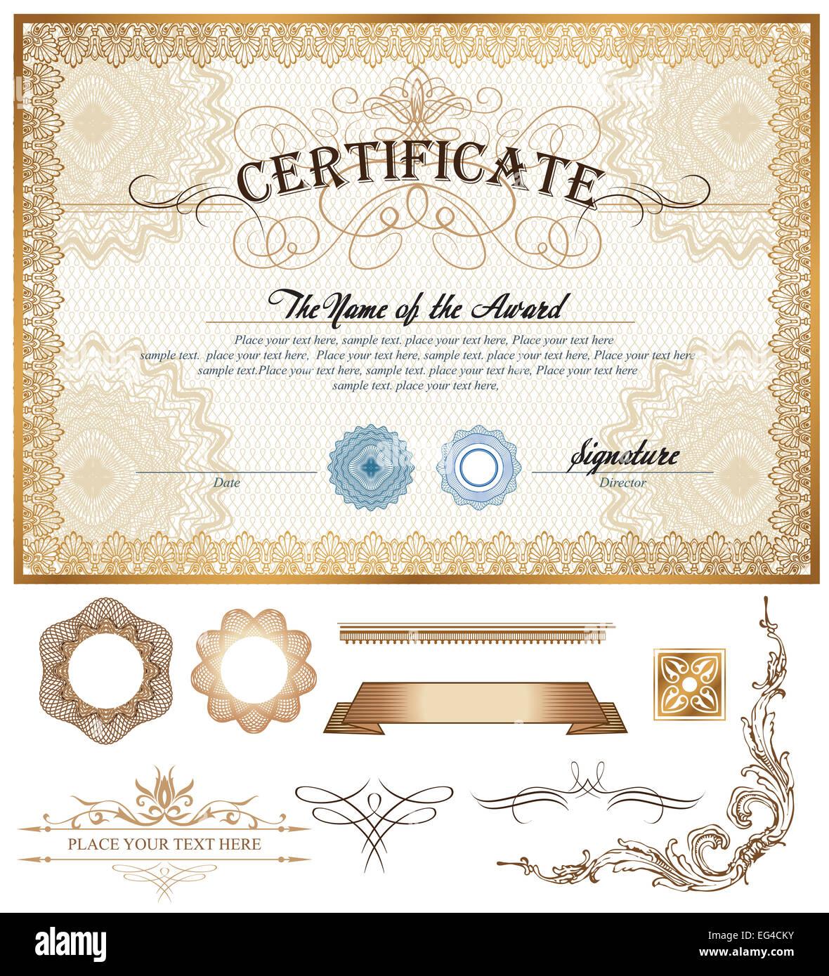 Zertifikat oder Gutschein Vorlage mit Vintage Grenze und zusätzliche ...