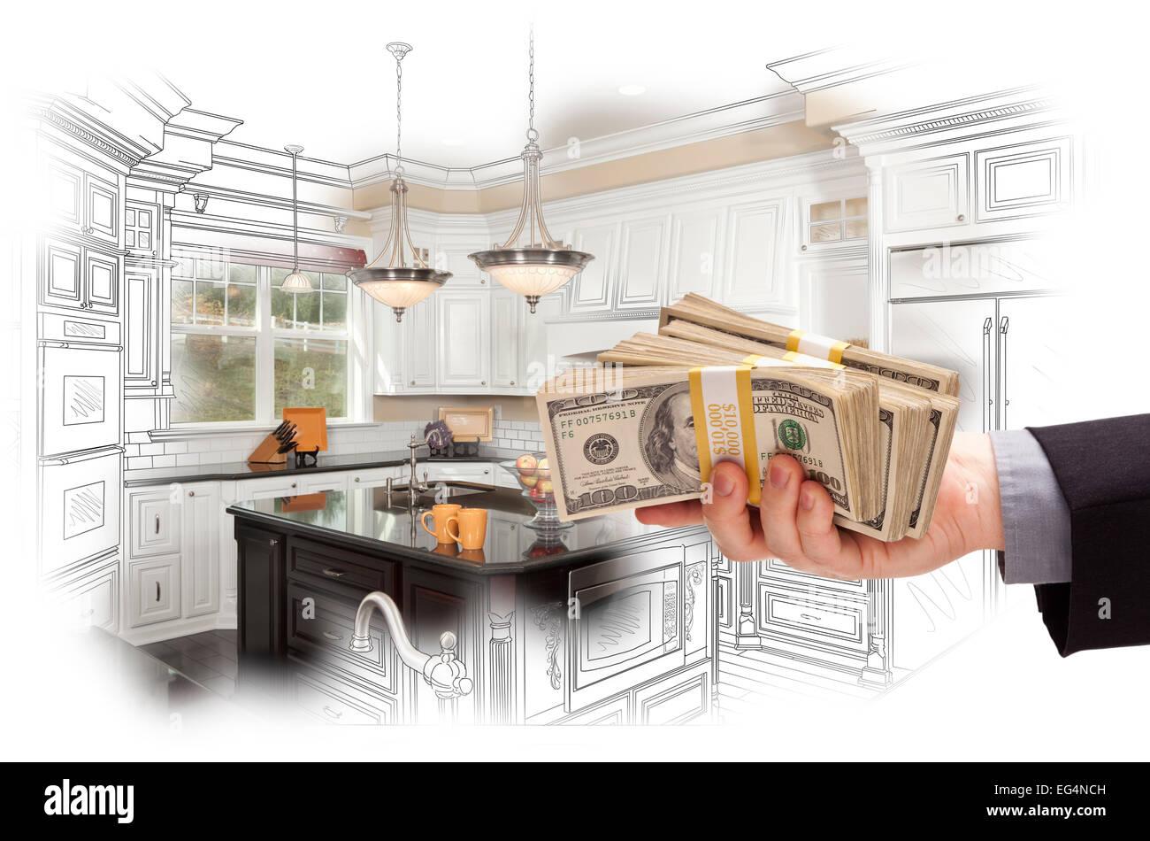 Hand-Warteschleifen Geld über eigene Küche Design, Zeichnung und ...