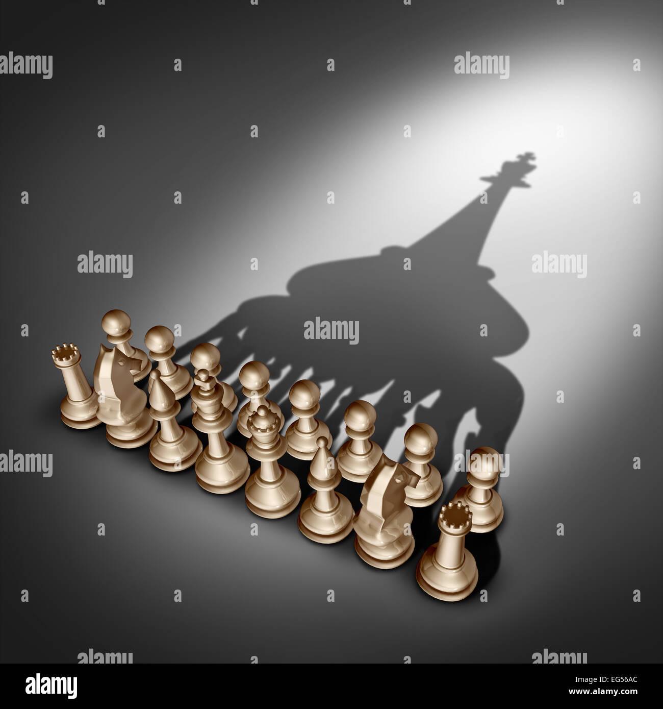 Unternehmensführung und Management-Vision Team als Gruppe Geschäftskonzept mit Satz Schachfiguren verbinden Stockbild