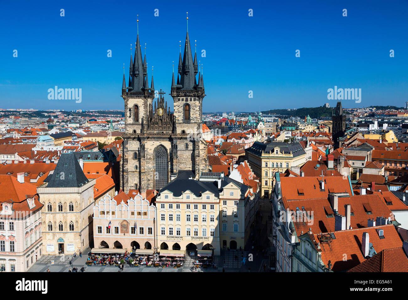 Prag, Altstädter Ring, der Liebfrauenkirche vor tyn Stockbild