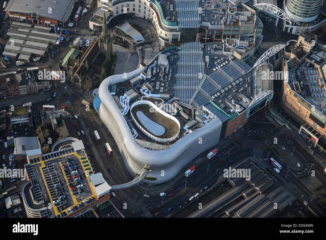 Eine Luftaufnahme des Bull Ring Shopping Centre in Birmingham, West Midlands Stockbild