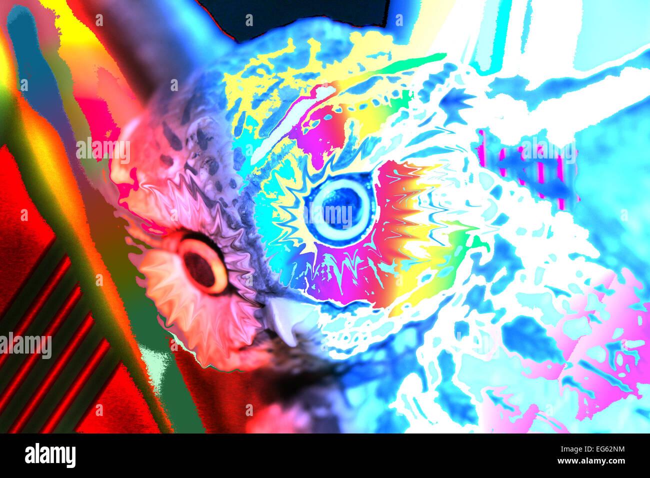 1; abstrakte Eule abstrakte Eulen Tier; Tiere; Vogel; Raubvogel; Vögel; Raubvögel; blauer Himmel; blauer Stockbild