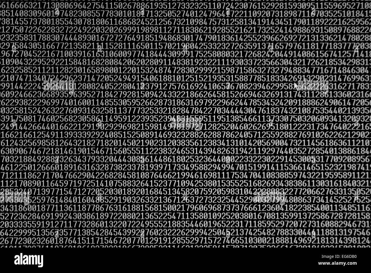 Zufällige Zahlen auf einem Computermonitor Stockbild