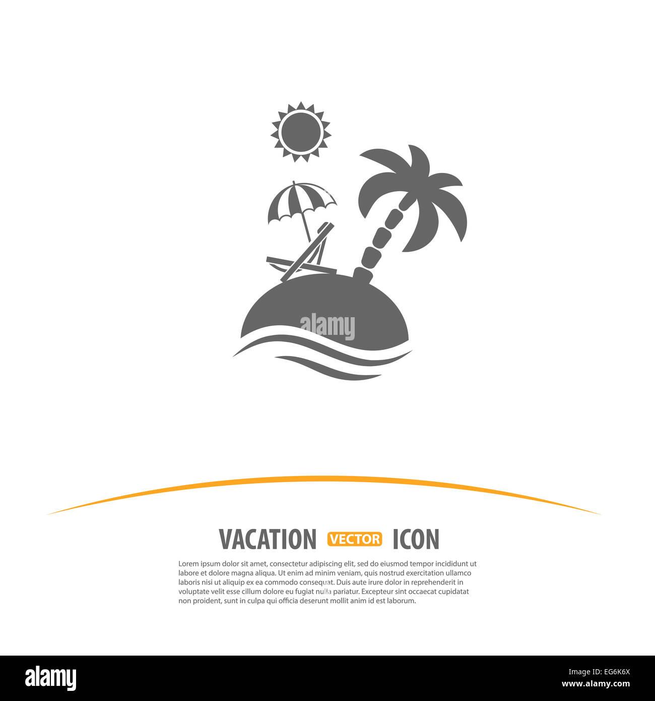 Strandkorb vorlage  Reisen, Tourismus und Ferien-Logo-Design-Vorlage. Insel mit Palmen ...