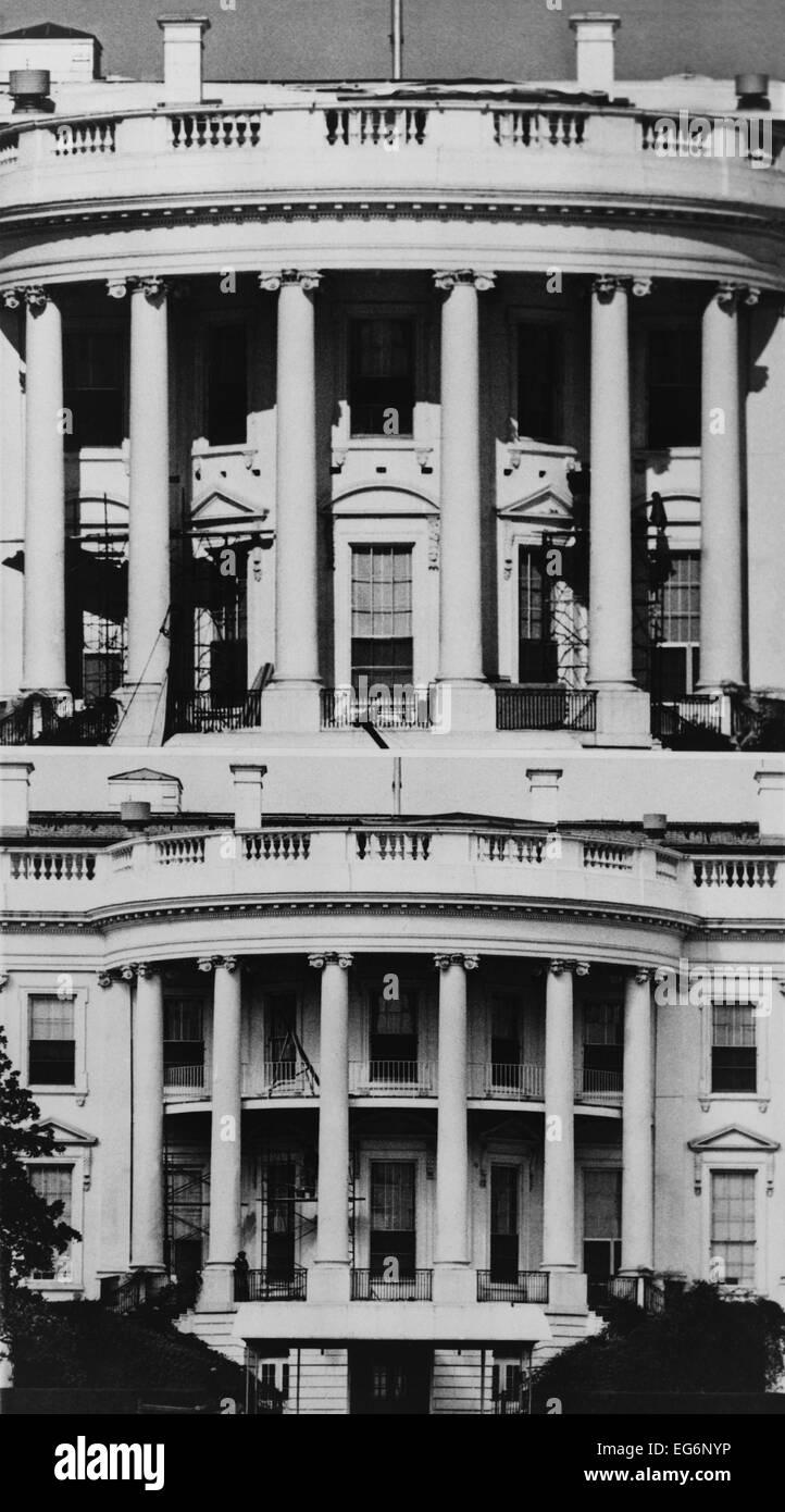 White House South Portikus vor und nach der Zugabe des \
