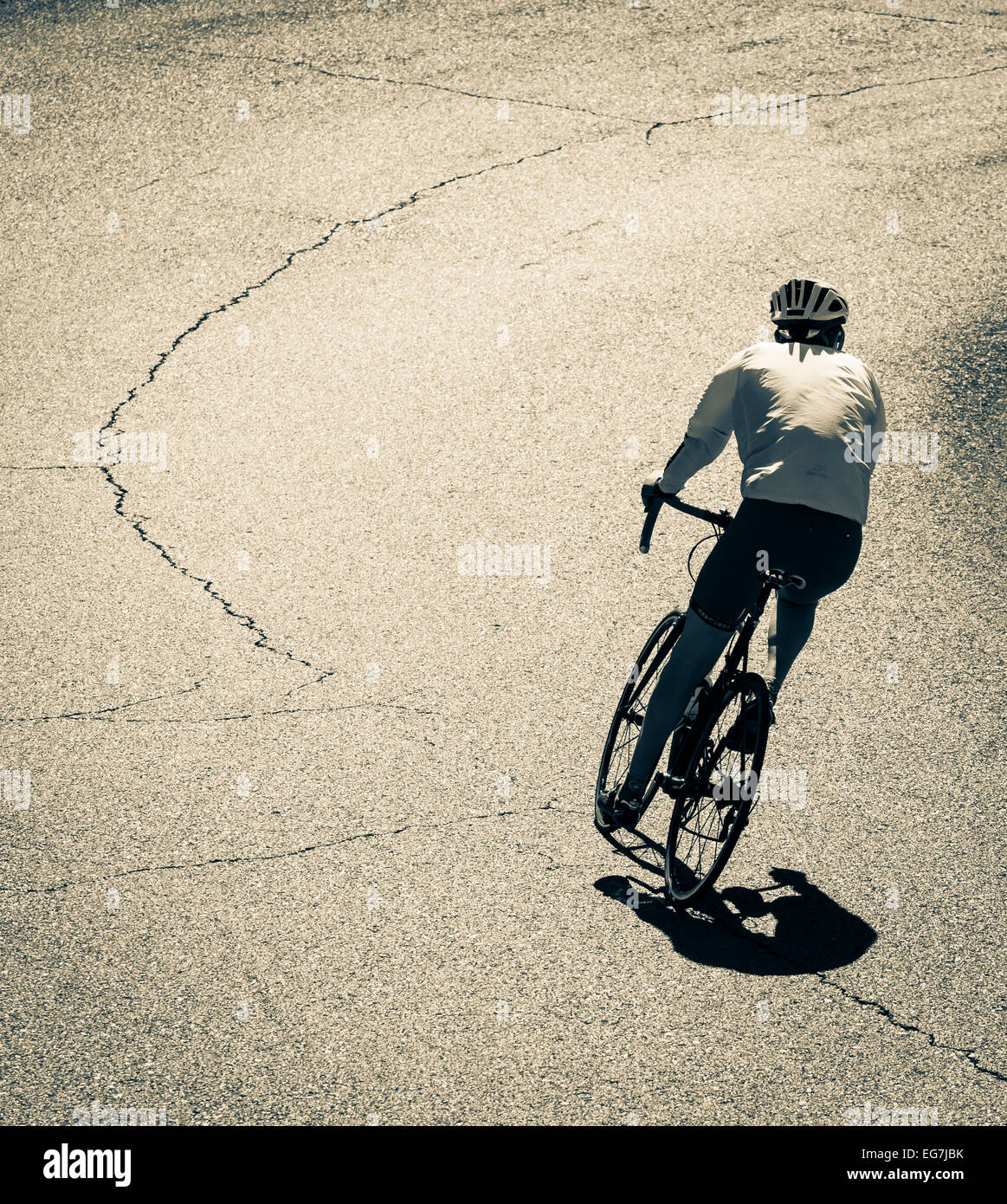 Radfahrer auf Bergstraße auf Gran Canaria, Kanarische Inseln, Spanien Stockbild