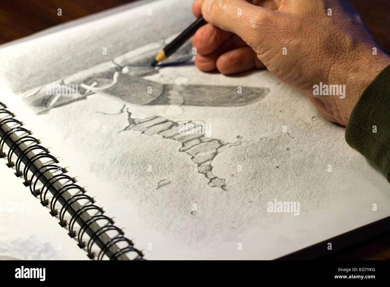 k nstler mit bleistift auf papier zeichnen mit linien und. Black Bedroom Furniture Sets. Home Design Ideas