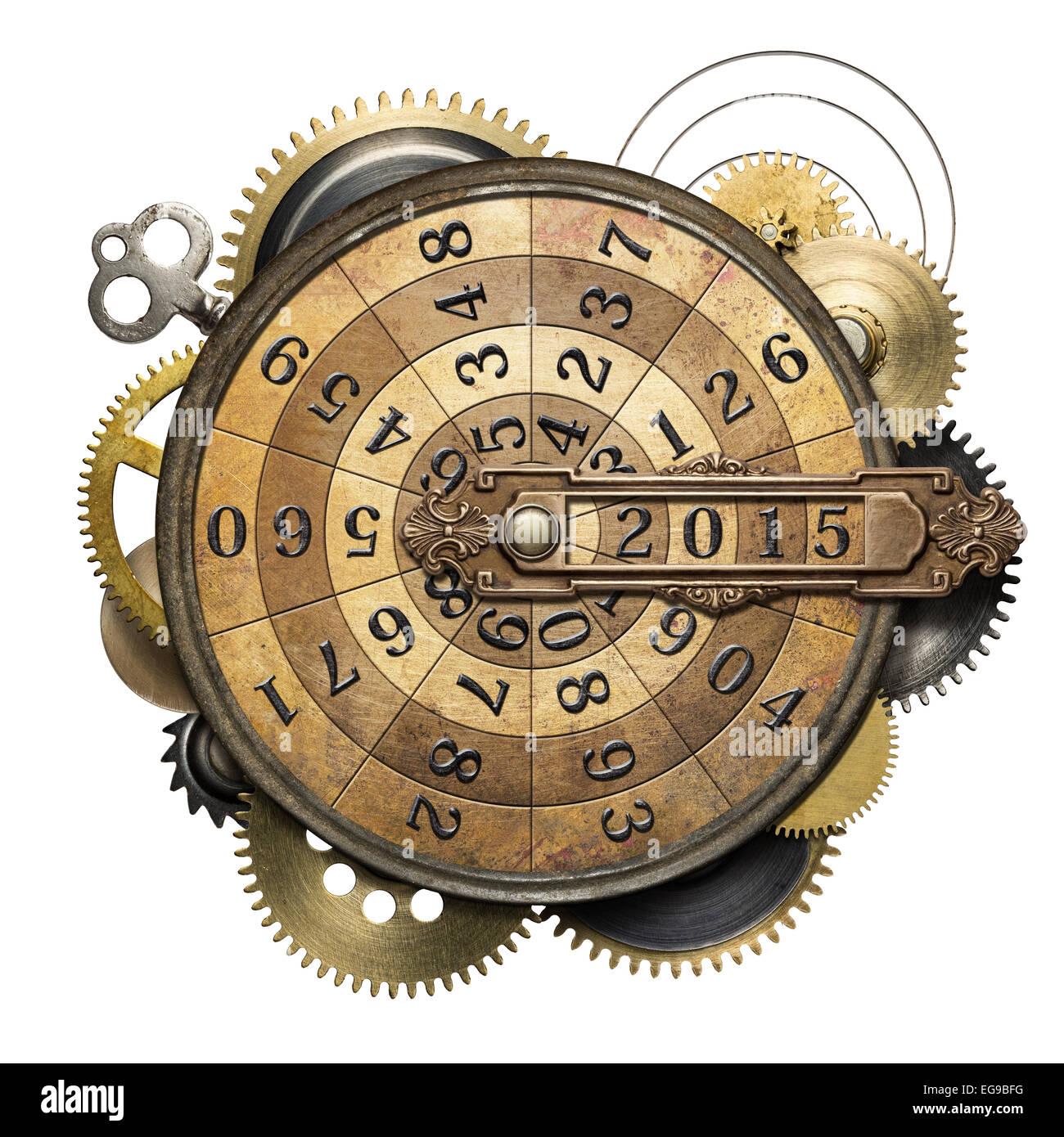 Stilisierte Steampunk Metall Collage Zeit Zahleinrichtung Neujahr