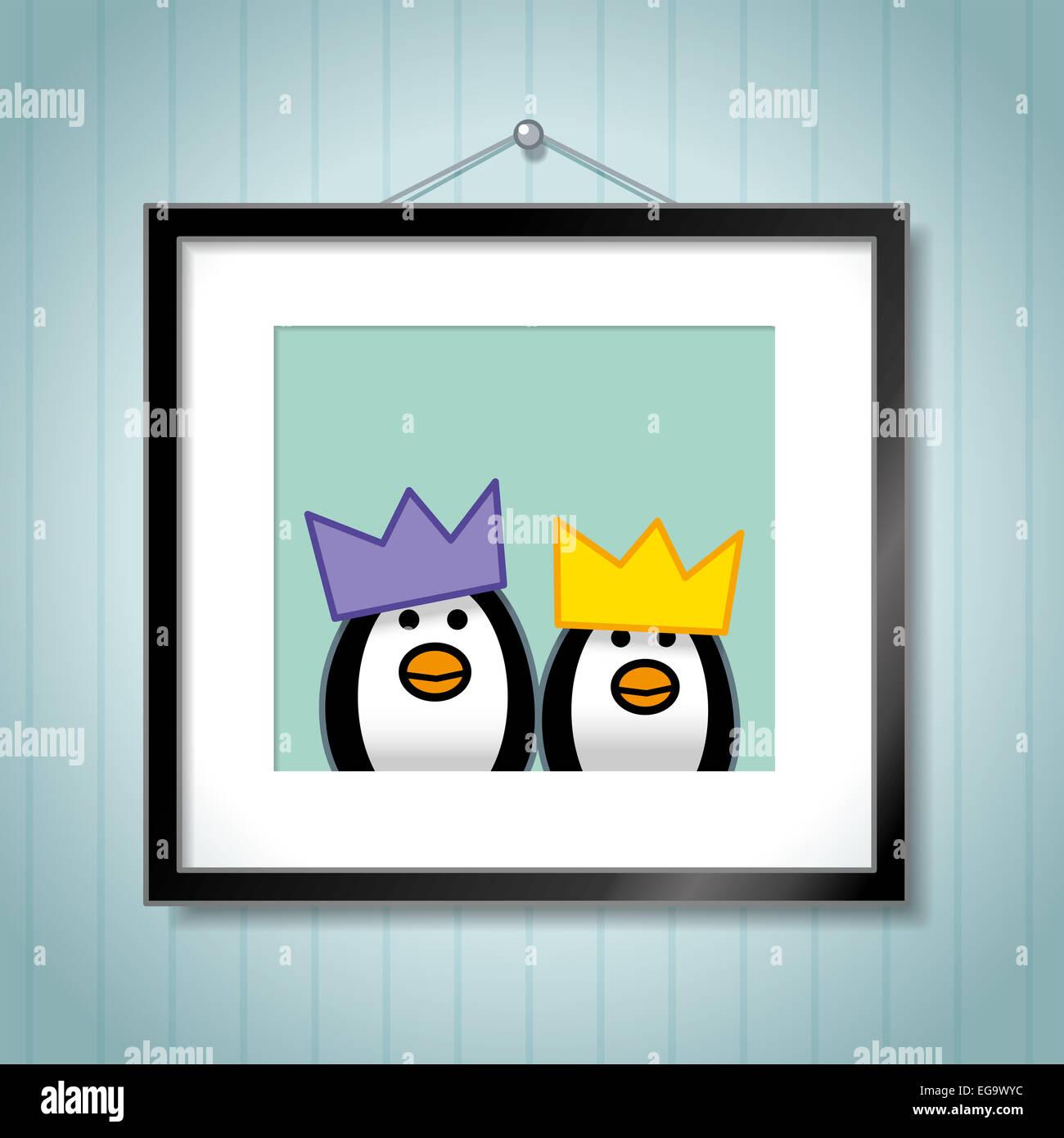 Nette Familie der Pinguine tragen festliche Party-Hüte in ...