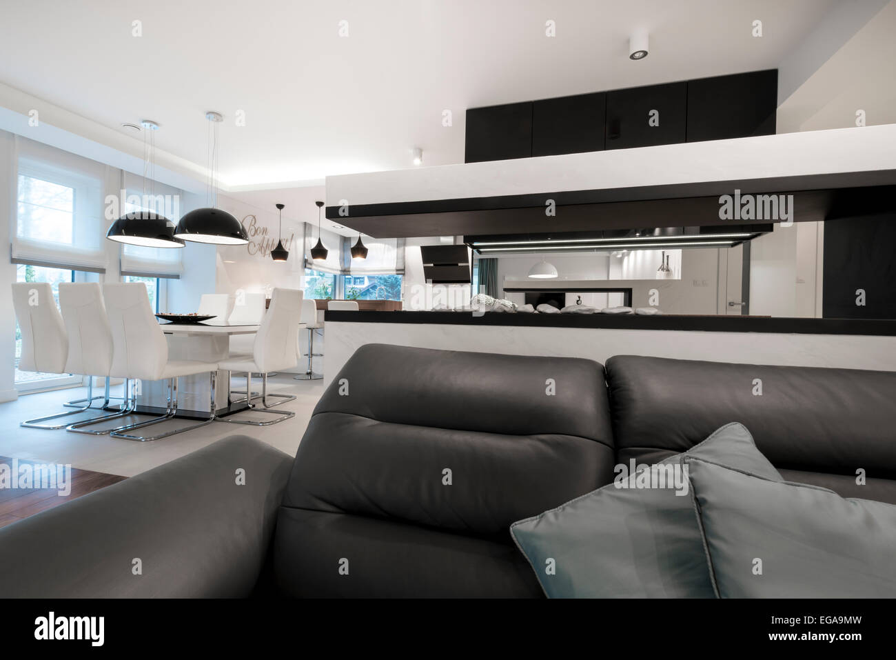 Moderne Innenarchitektur Wohnzimmer Mit Kamin In Schwarz / Weiß