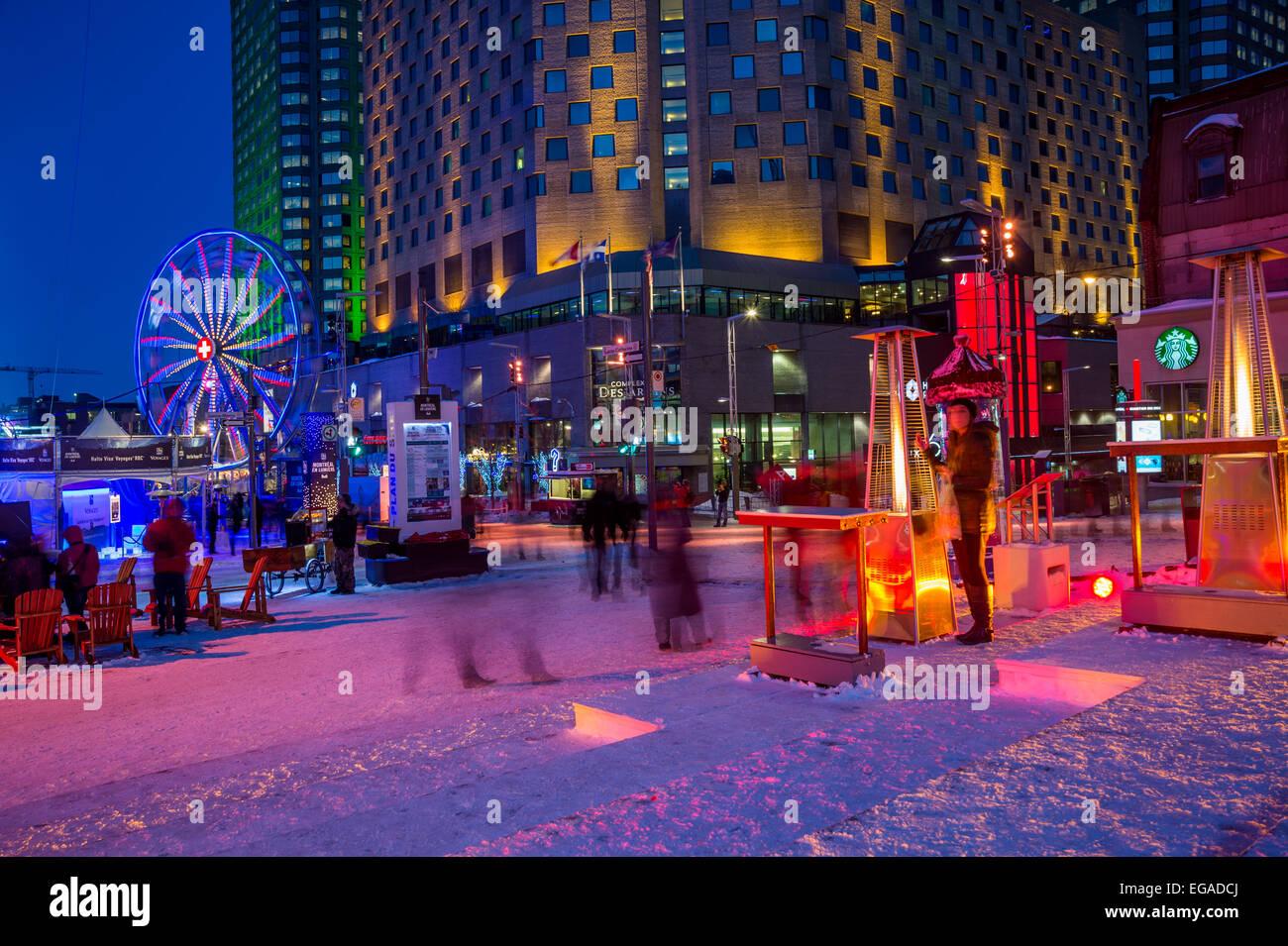 Montreal En Lumière Festival im Ort des Festivals, im Jahr 2015 Stockfoto