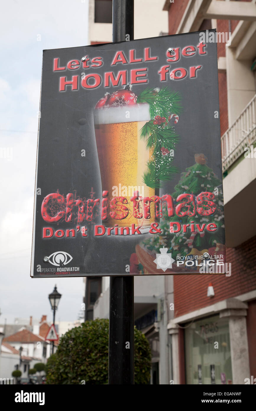 Anti-Getränk fahren Sie Weihnachten Plakat, Gibraltar, Gibraltar ...