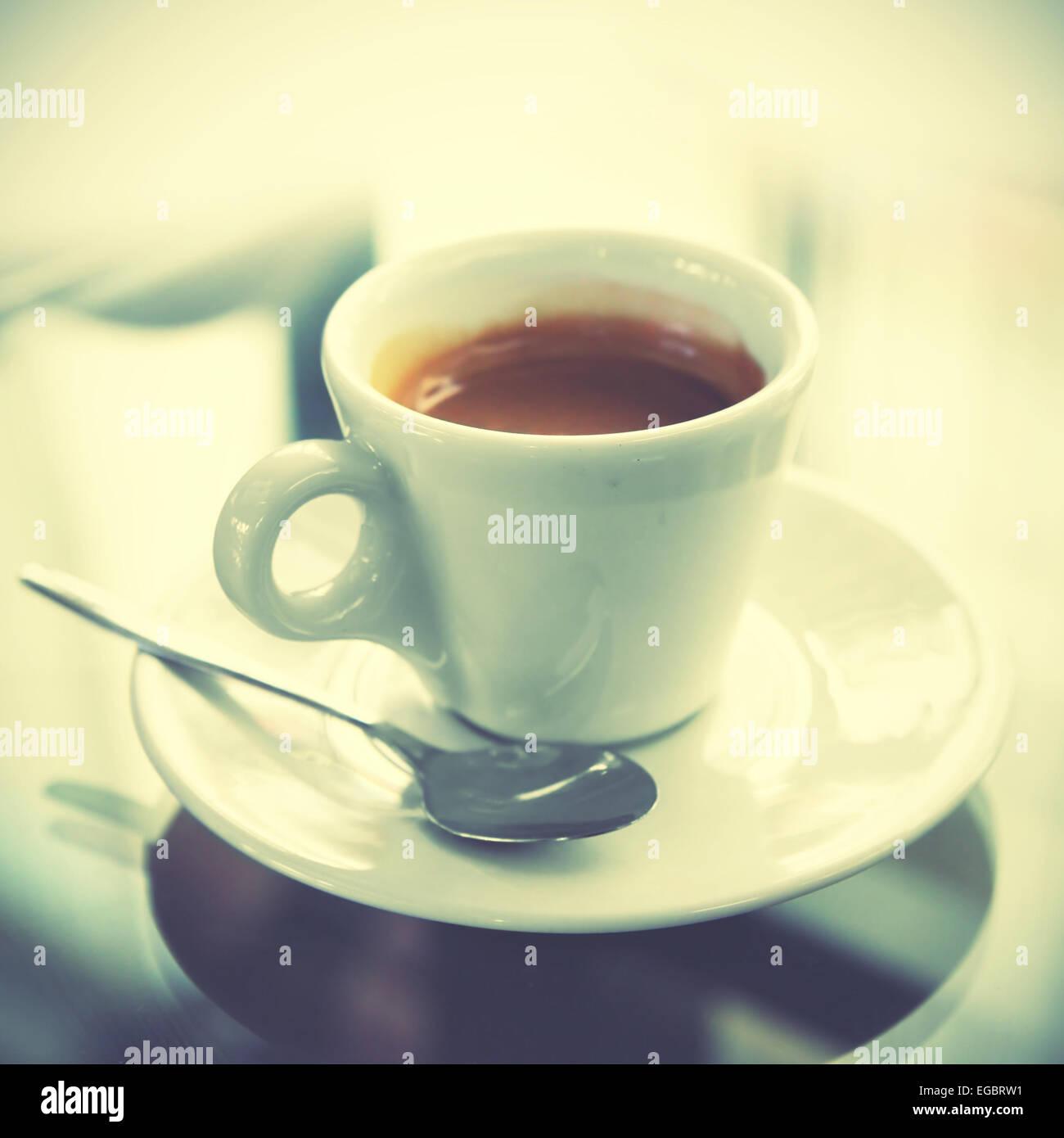 Tasse Espresso. Retro-Stil Bild Stockbild