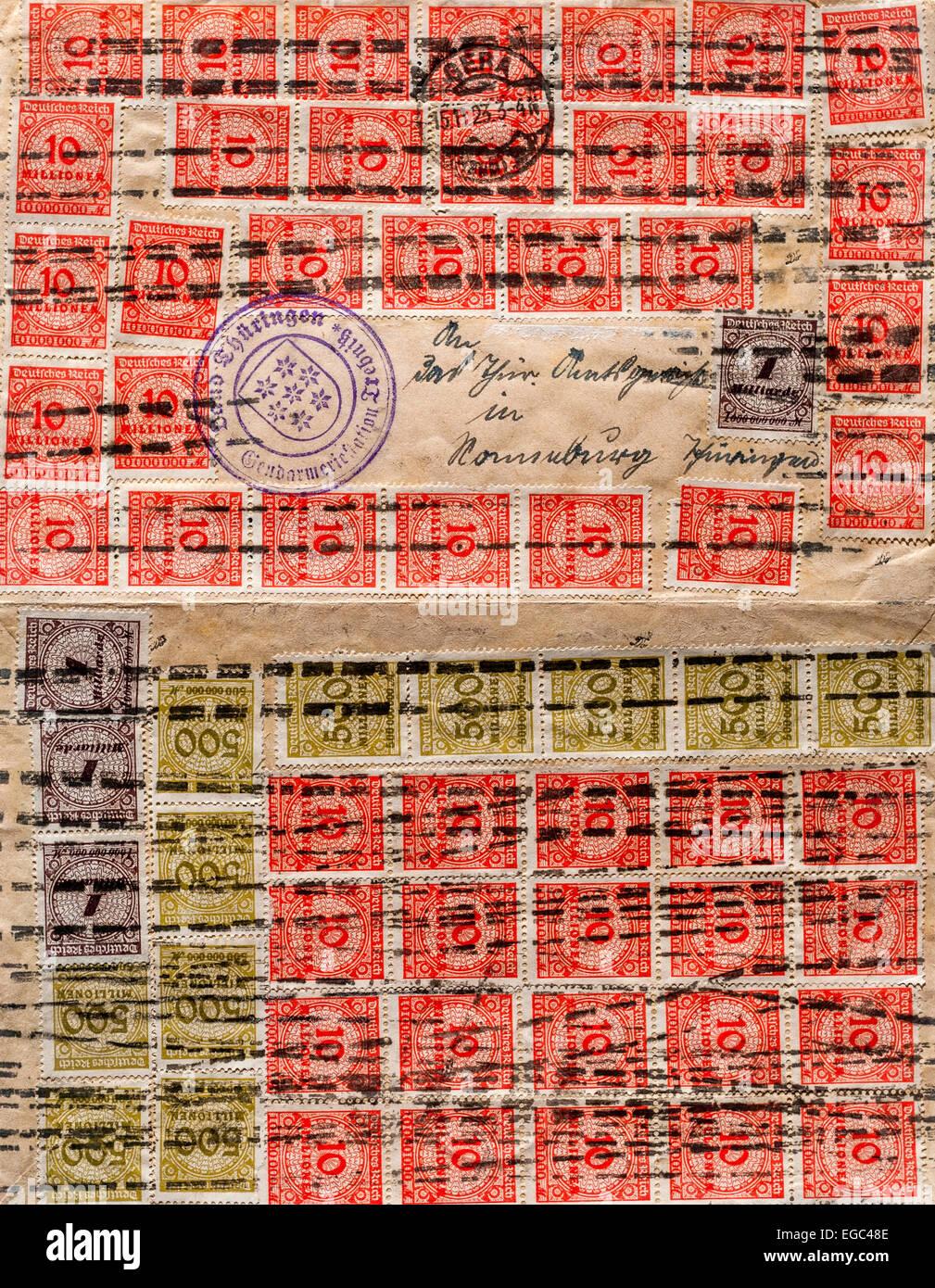 1923 Deutscher Brief Mit 10000000000 Noten Von Hyper Inflation
