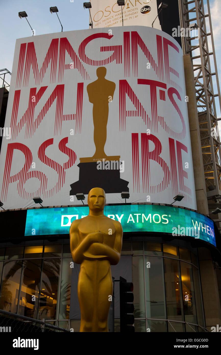 Oscar-Statue, Hollywood Boulevard - zwei Tage vor den Oscars-Ceremnoy - Los Angeles, Kalifornien Stockbild