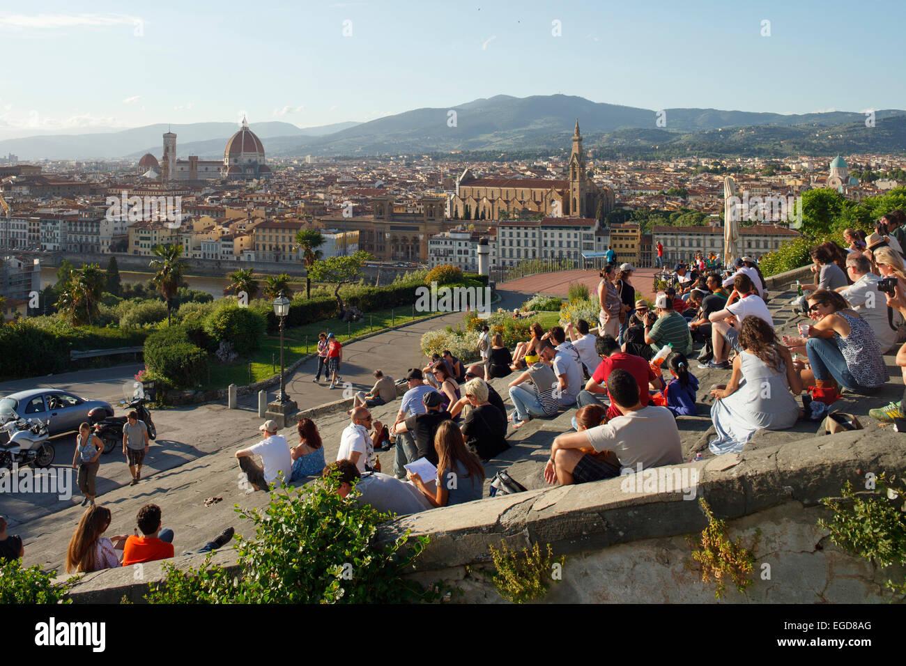 Punkt von Piazzale Michelangelo, Michelangelo Square, Treppe, anzeigen Firenze, UNESCO-Weltkulturerbe, Firenze, Stockbild