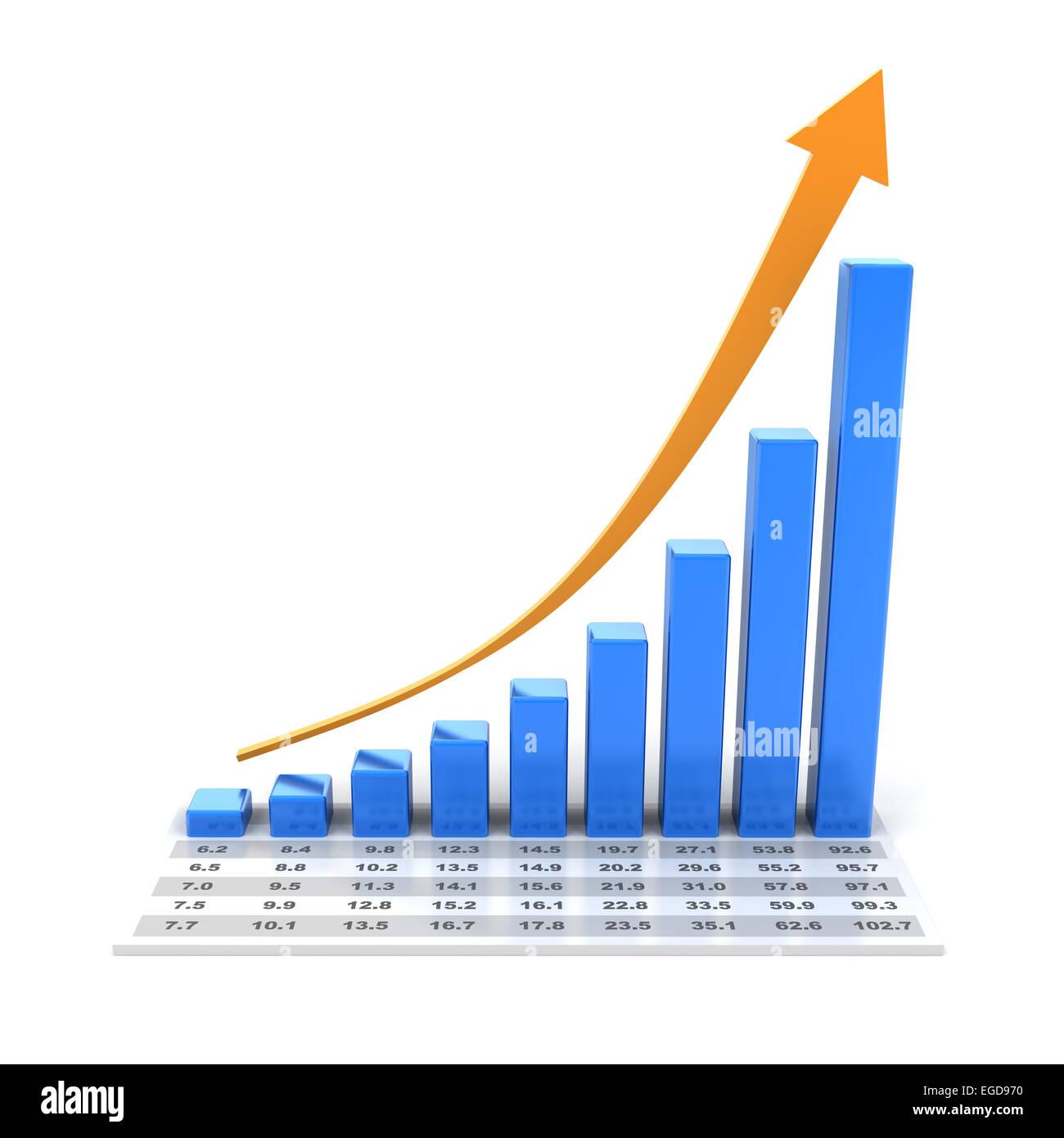 Wachstumsdiagramm mit Daten, 3d Rendern Stockbild