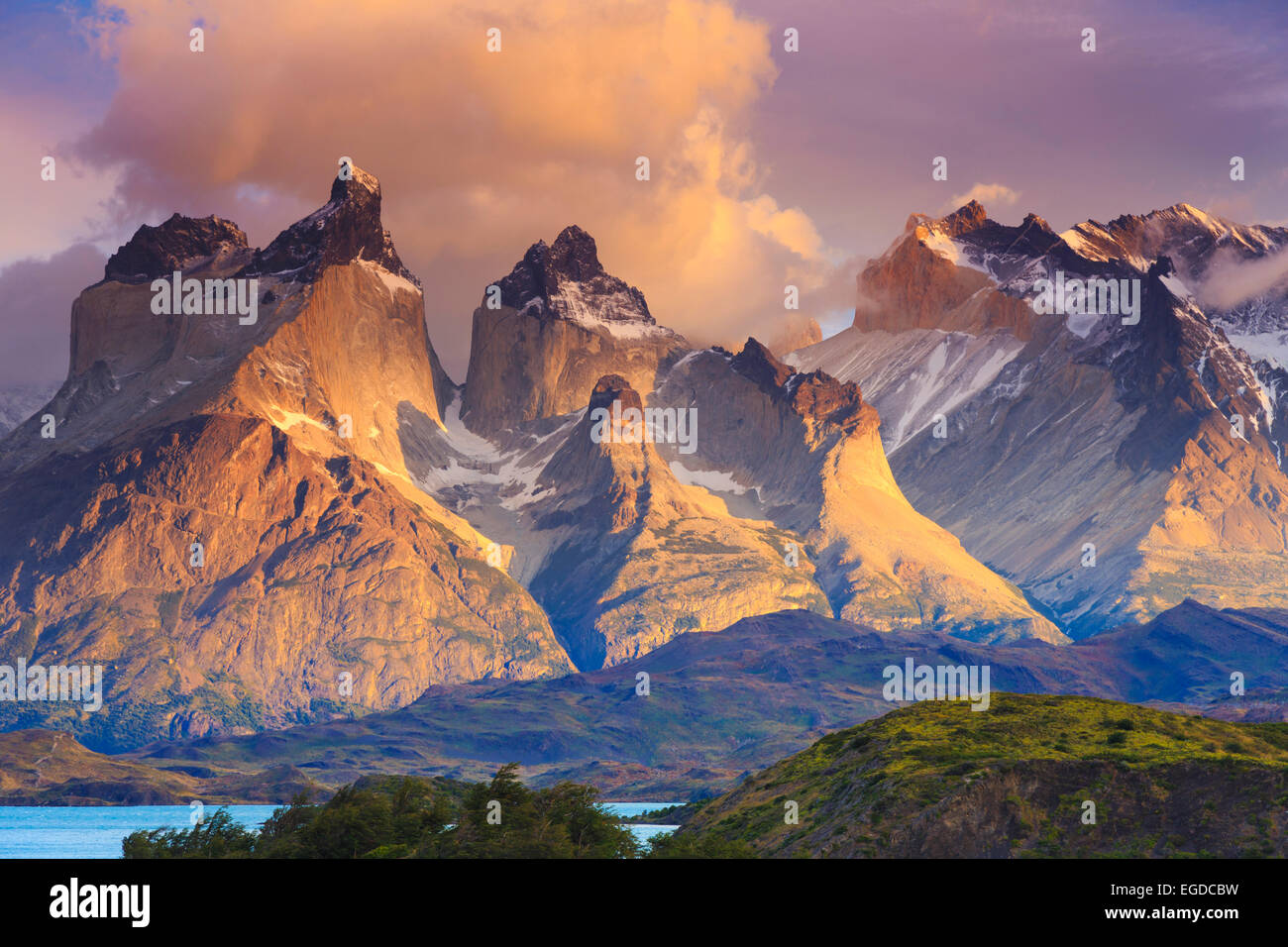 Chile, Patagonien, Torres del Paine Nationalpark (UNESCO-Website), See Peohe Stockbild