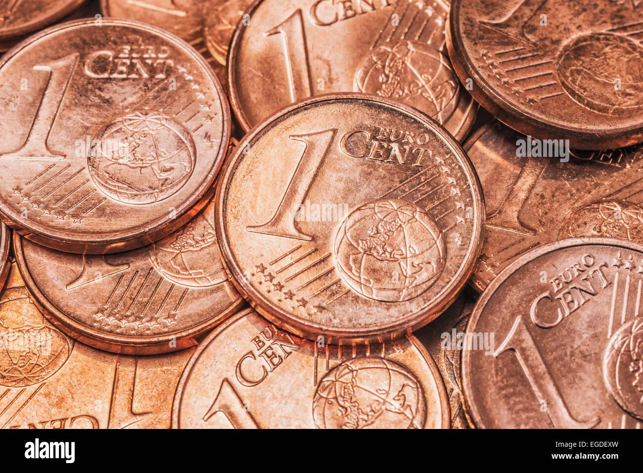 Viele 1 Euro Cent Münzen Vorderseite Stockfoto Bild 78973073 Alamy