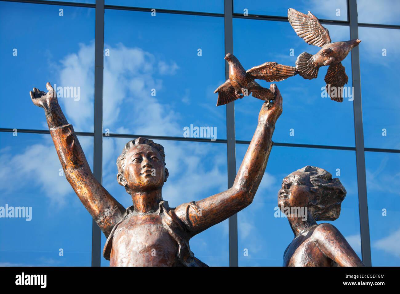 Frieden und Freundschaft Statue Frieden Avenue; Ulaanbaatar; Mongolei Stockbild