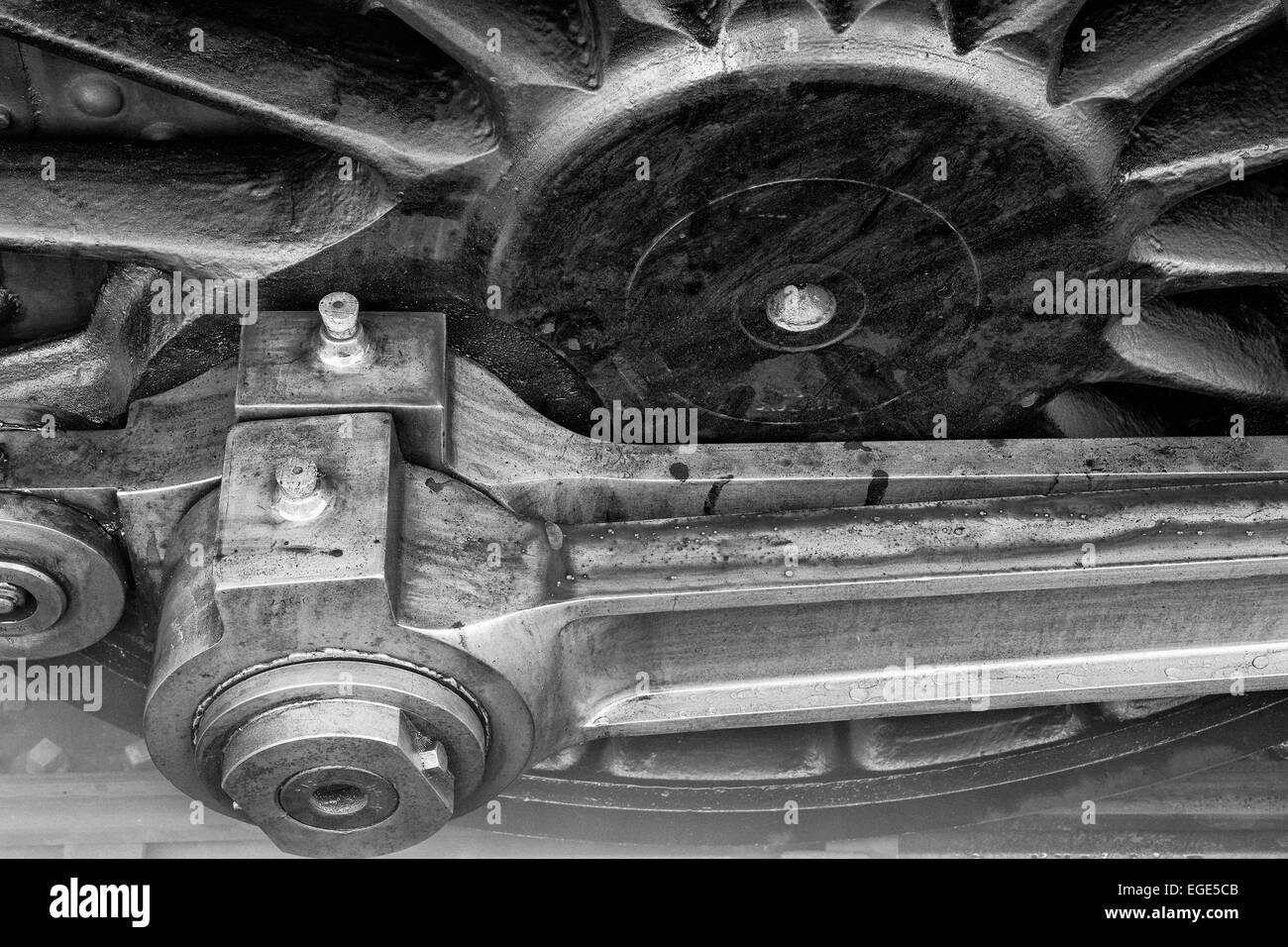 Eine Nahaufnahme von einer der wichtigsten Antriebsräder und Stangen in GWR große Prärie 4160 an Stockbild