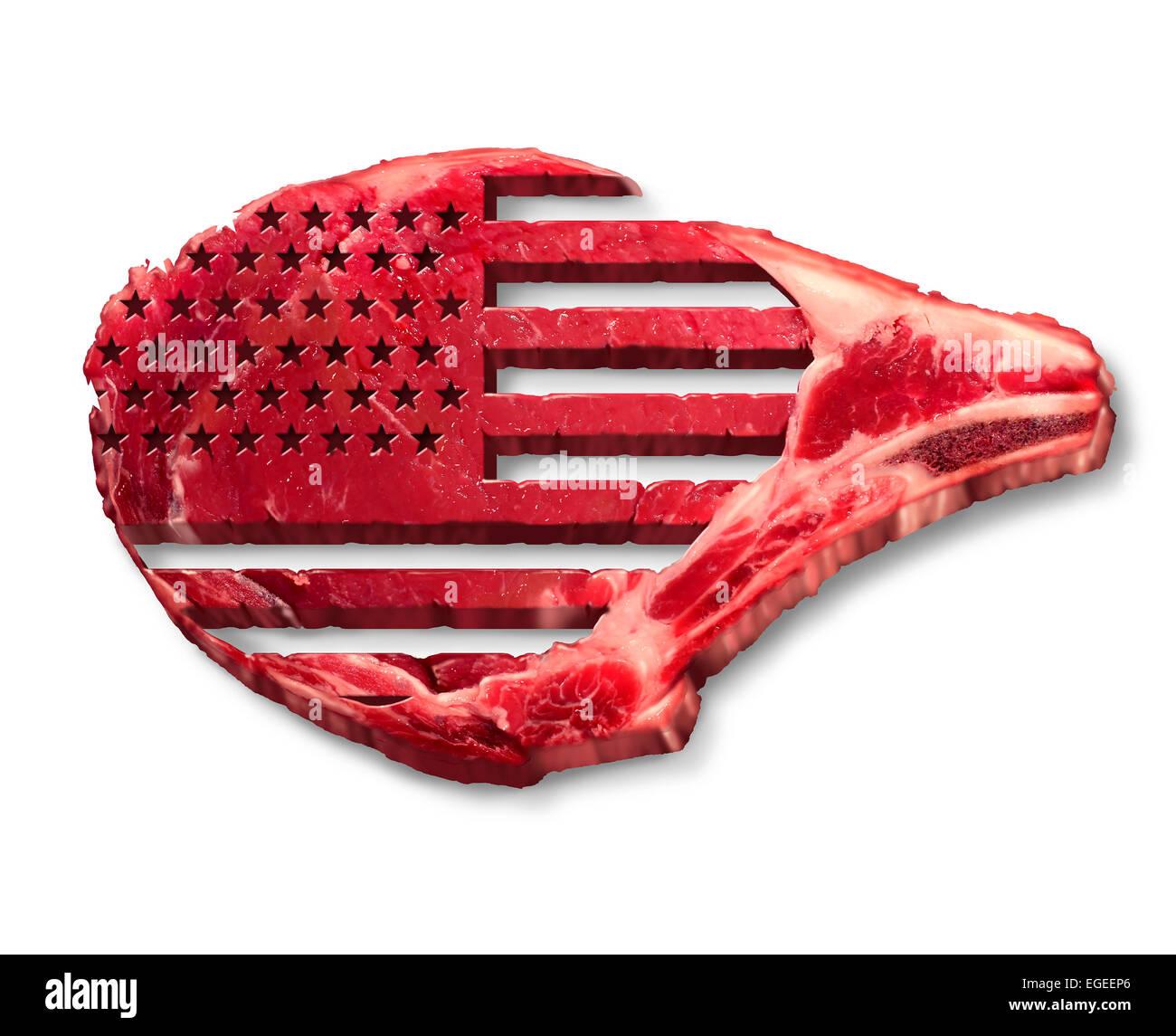 Amerikanisches Rindfleisch Industrie Konzept als rotes Fleisch Steak Symbols mit der Flagge der Vereinigten Staaten Stockbild