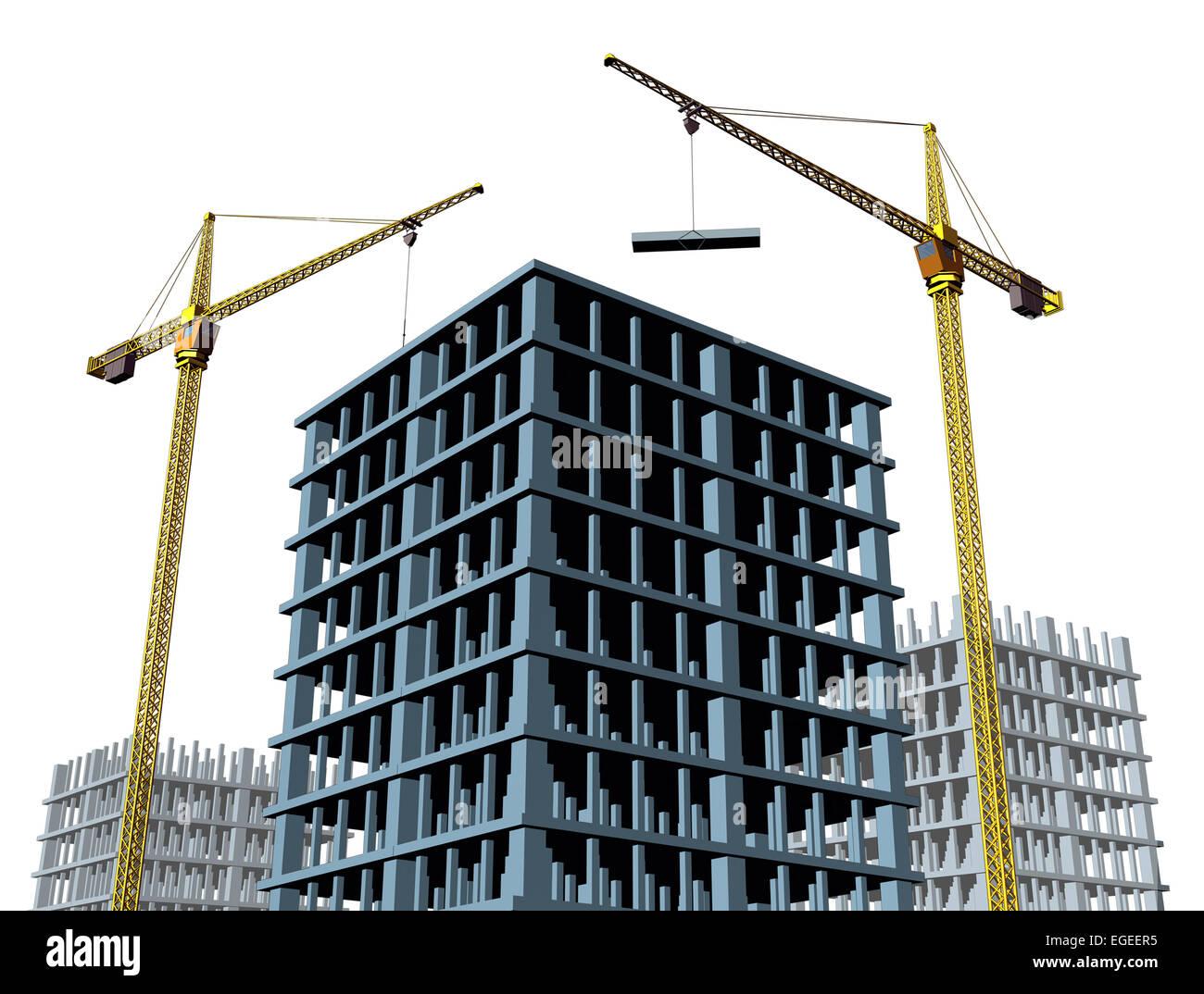 Hochhaus-Baustelle mit einer Betonkonstruktion in Bau als eine kommerzielle Immobilien-Struktur und ein b Stockbild