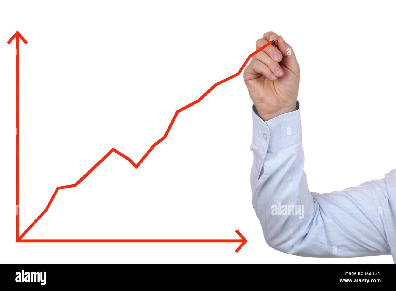 Erfolgreicher Geschäftsmann ein Erfolg Wachstumsdiagramm zeichnen Stockbild