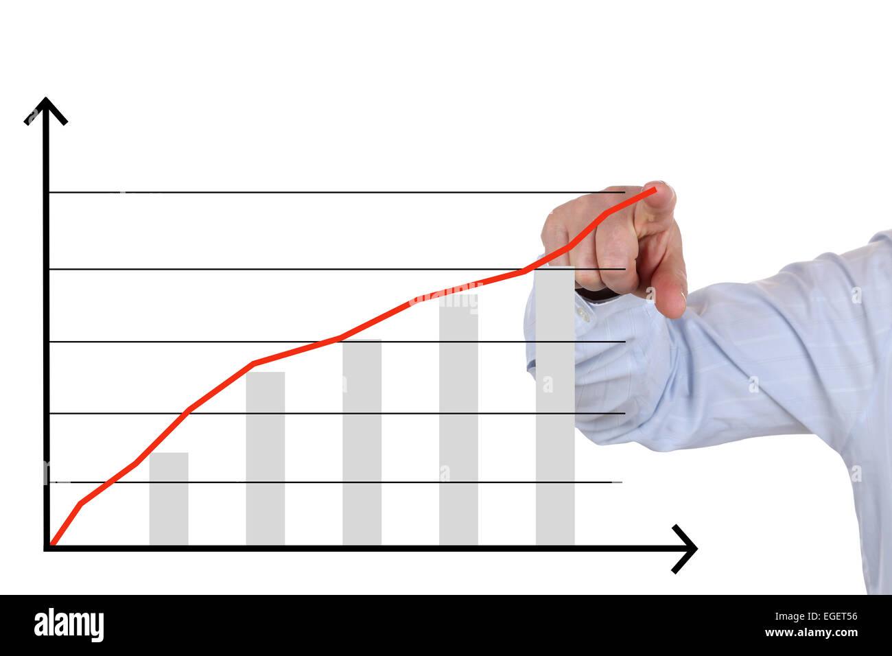 Geschäftsmann zeigt ein Konzept Geschäftsanalyse, Erfolg-Wachstums-chart Stockbild