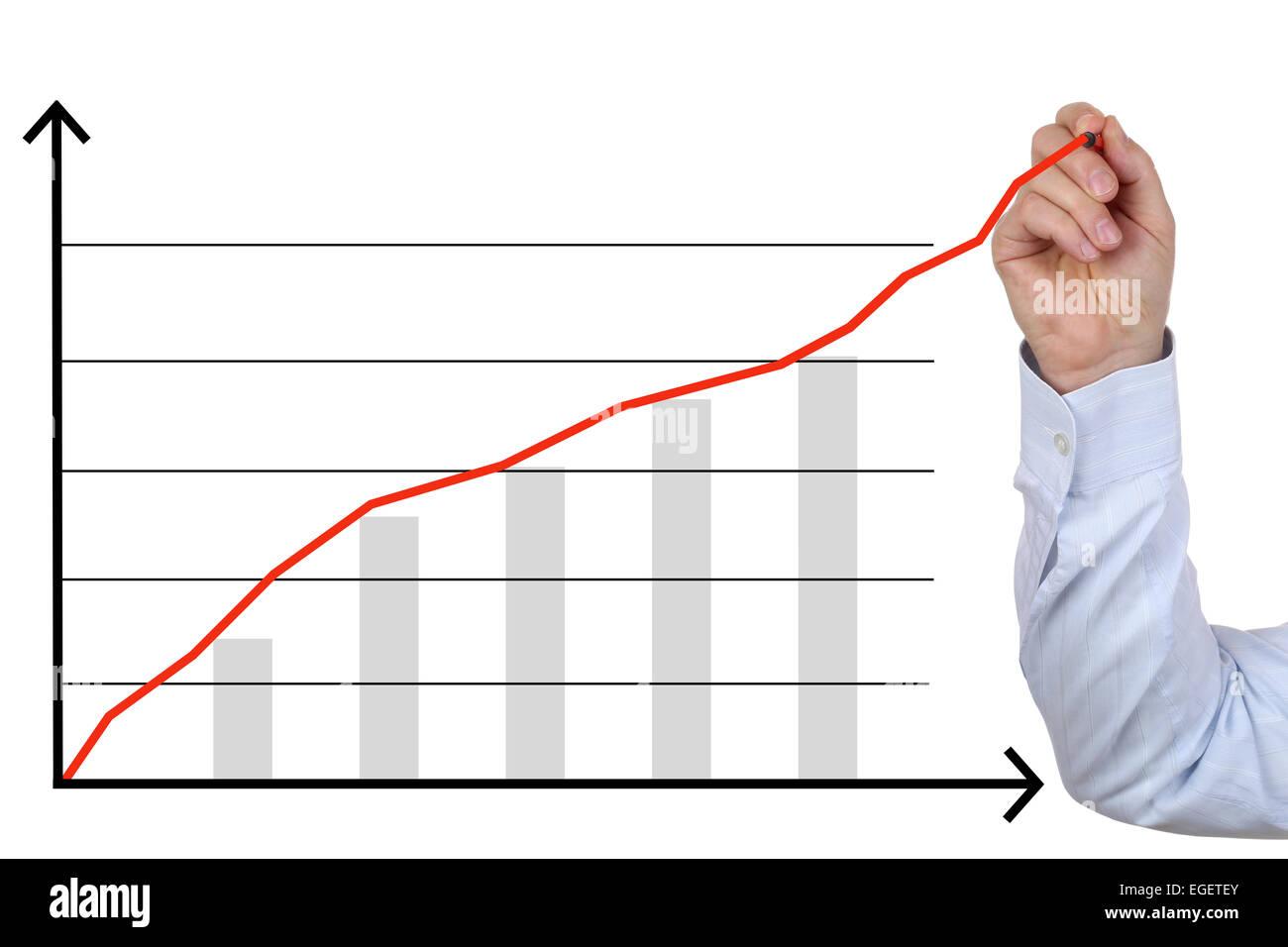 Geschäftsmann, zeichnen ein Konzept Geschäftsanalyse, Erfolg-Wachstums-chart Stockbild