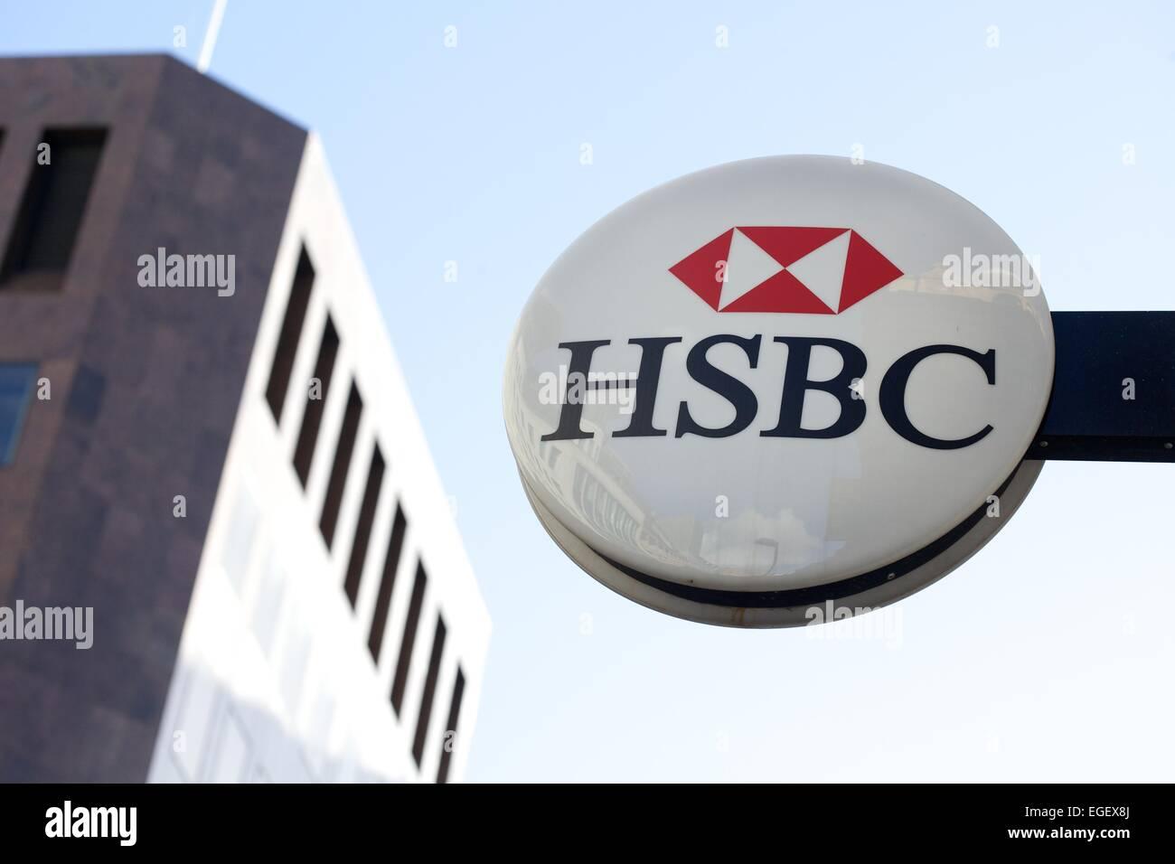 Außenaufnahme des HSBC Bank im Stadtzentrum von Leeds Stockbild