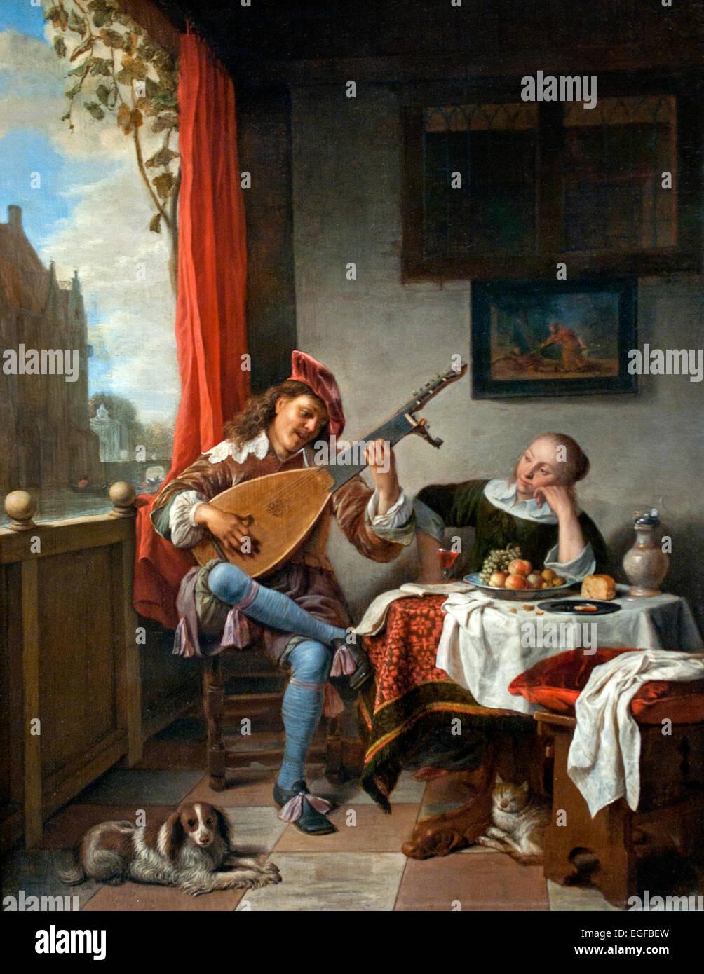 Der Lautenist 1661 Hendrick Maertensz SORGH 1611-1670 Niederländisch Niederlande Stockbild