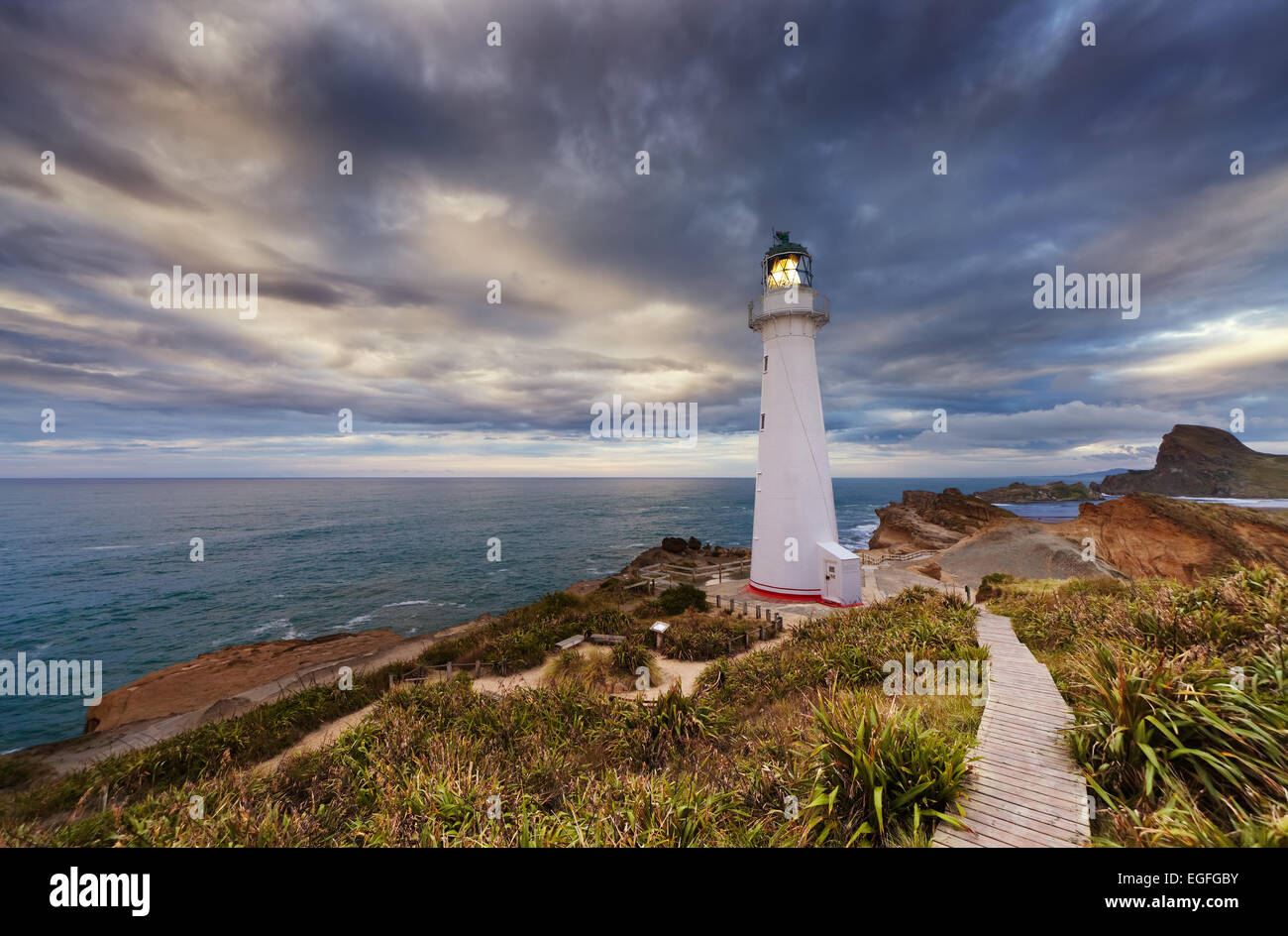 Castle Point Lighthouse bei Sonnenaufgang, Wairarapa Neuseeland Stockbild