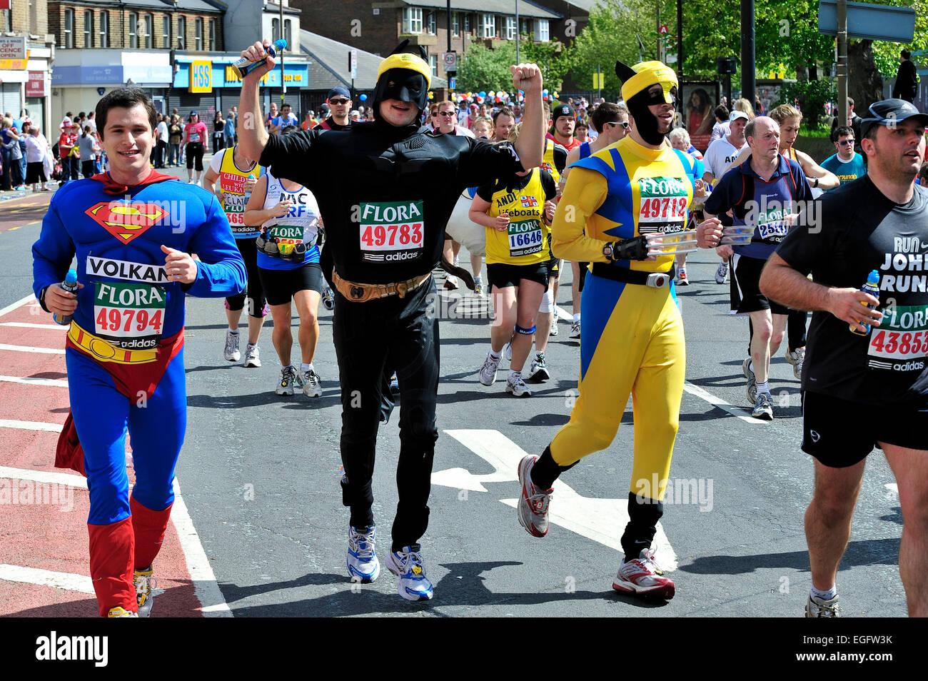 London Marathon Spaß oder Charity-Läufer in Tracht Stockfoto