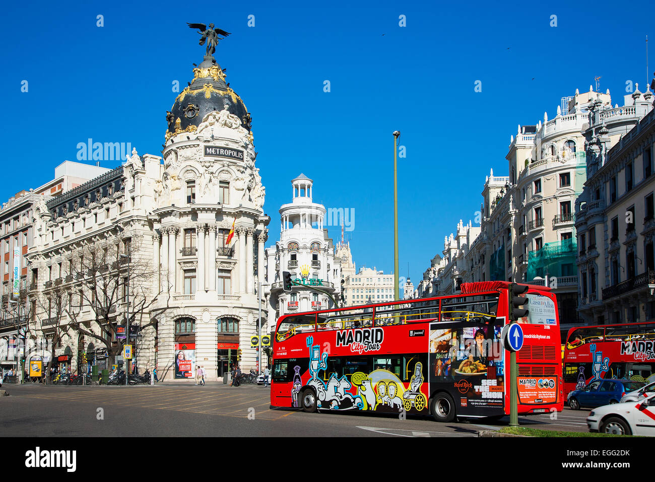 Madrid, Metropolis Gebäude und Gran Via Stockbild