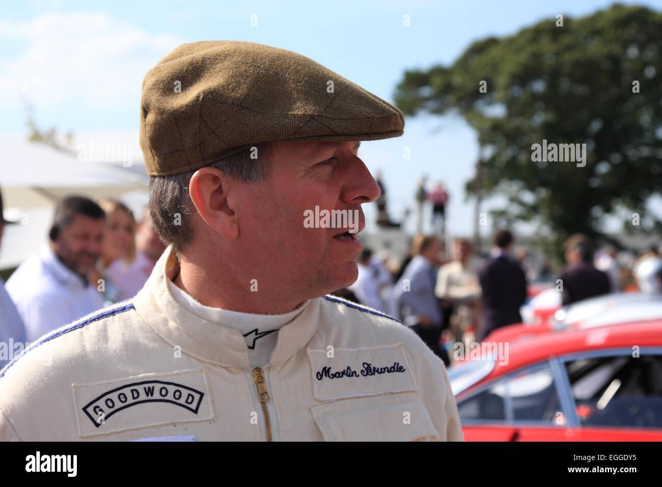 Ehemalige Sportwagen-Weltmeister und Formel 1 Fahrer, jetzt TV-Experte und Kommentator, Martin Brundle / Goodwood Stockbild
