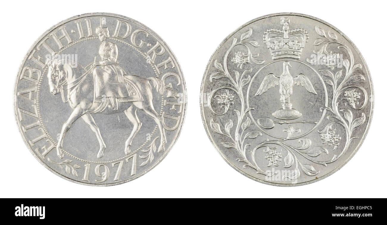Silver Jubilee Münze. Beide Seiten einer British1977 Silver Jubilee Krone Münze. Stockbild