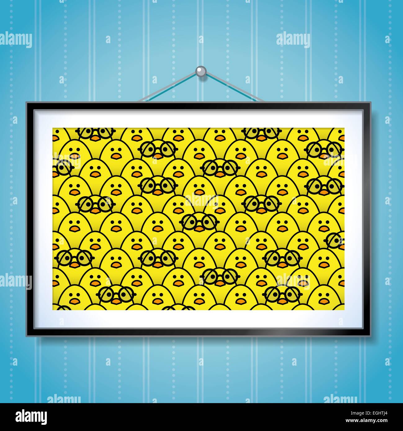 Große Gruppe Foto gelbe Küken mit einem einzigen Küken Round Frame ...