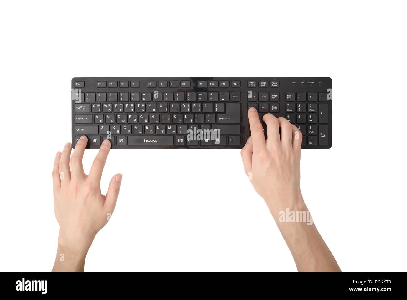 Hand der Presse Shorcut Schlüssel, isoliert auf weiß Stockbild