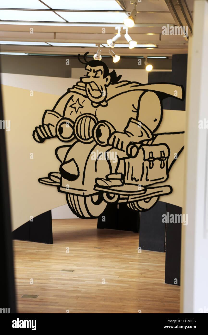 Ein Comic-Strip-Stück ausstellen im belgischen Comic-Strip Center, Brüssel-Belgien Stockbild