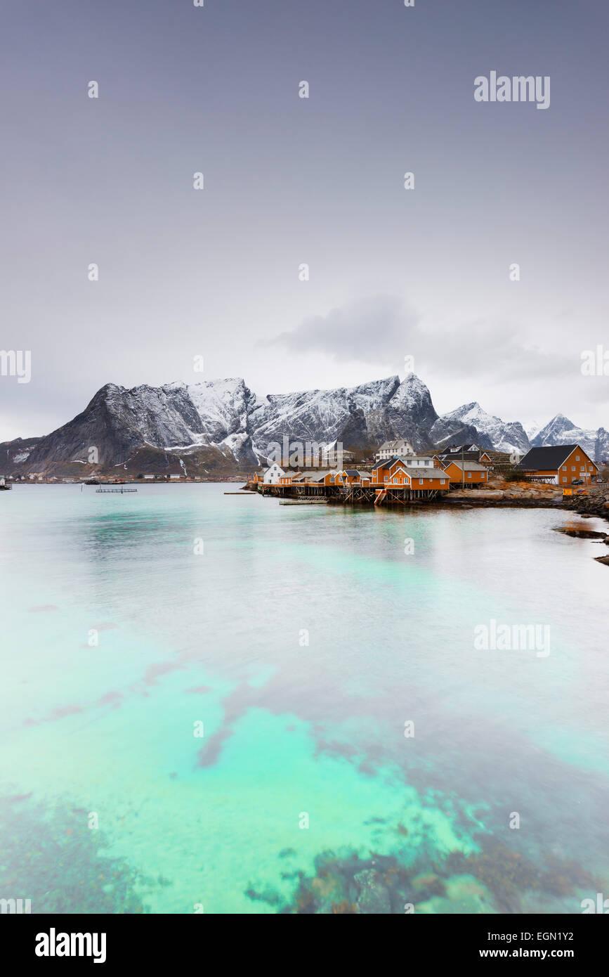 Europa, Skandinavien, Norwegen, Lofoten Inseln, Moskenesoy, Sakrisoy Stockbild