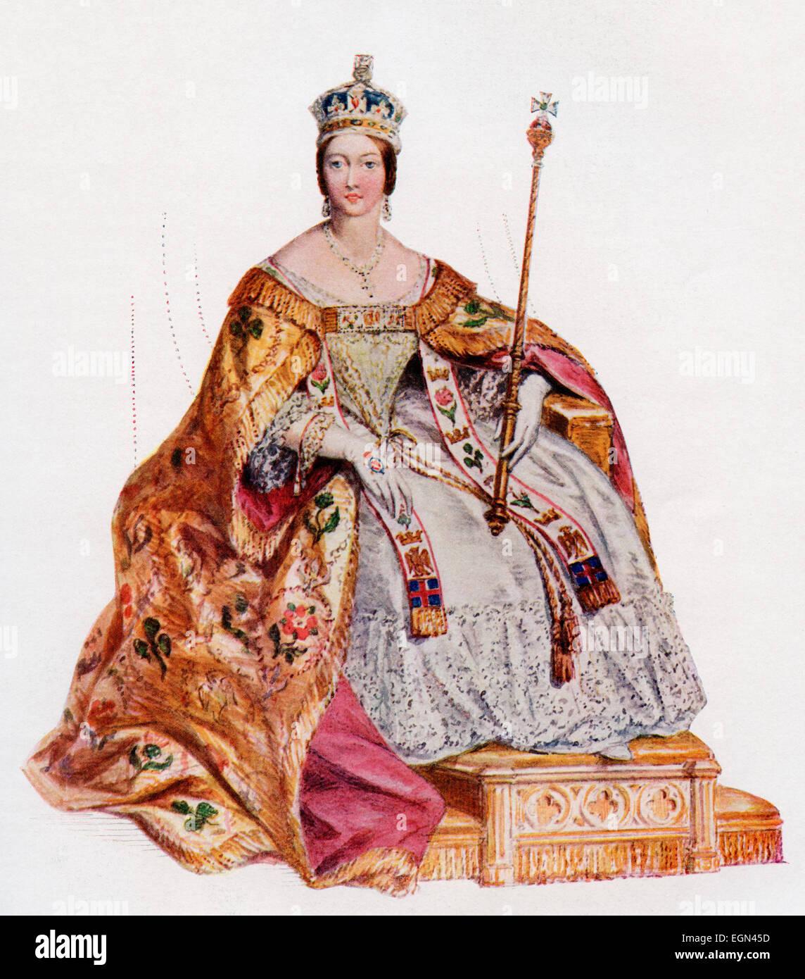Victoria, 1819-1901, in ihren Roben der Krönung in der Westminster Abbey, 28. Juni 1838.   Königin des Vereinigten Stockfoto