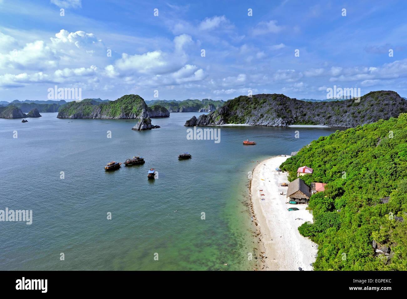 Vietnam - Halong-Bay-Nationalpark (UNESCO). Der beliebteste Ort in Vietnam. Affeninsel. Stockbild