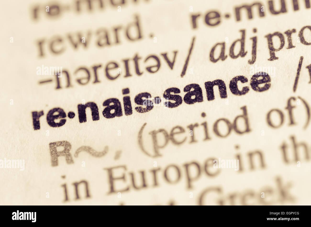 Definition des Wortes Renaissance im Wörterbuch Stockbild