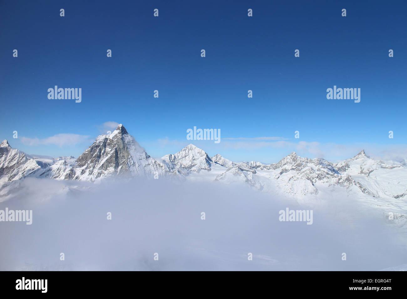 Matterhorn, Zermatt, Schweiz vom Klein Matterhorn Stockbild